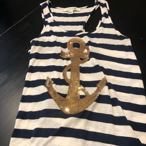 EUC Forever 21 blue and white striped navy tank